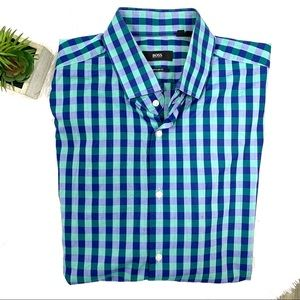Hugo Boss plaid dress shirt Italian fabric 17.5
